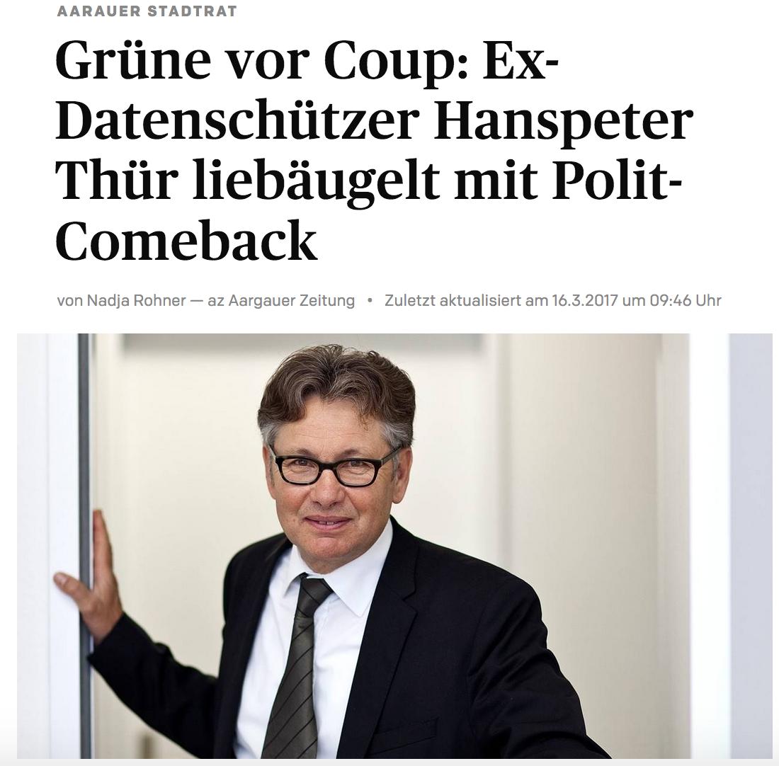 Grüne vor Coup: Ex-Datenschützer Hanspeter Thür liebäugelt mit Polit-Comeback - Hanspeter Thür