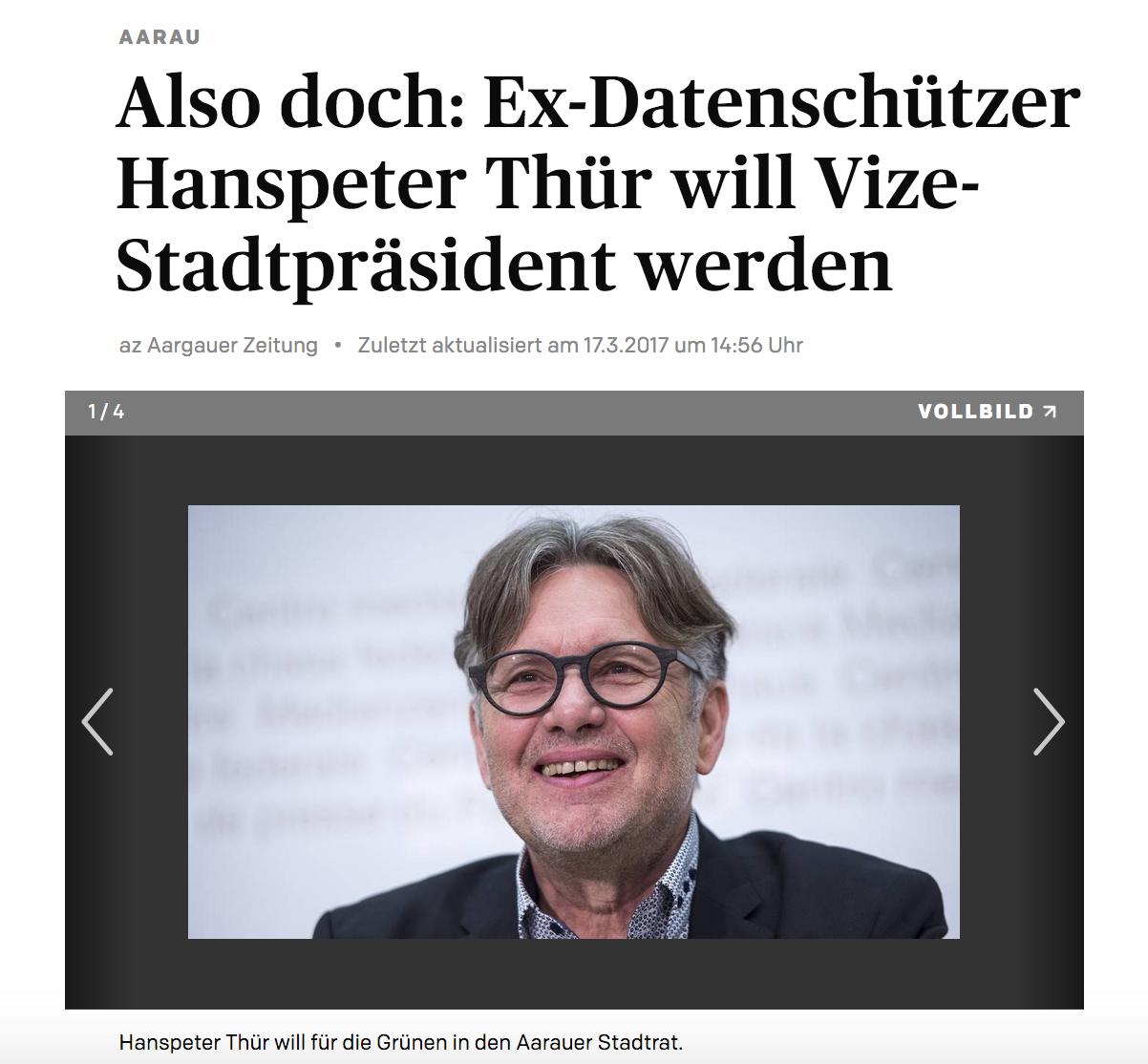 Also doch: Ex-Datenschützer Hanspeter Thür will Vize-Stadtpräsident werden - Hanspeter Thür